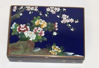 Inaba Floral Bird Cloisonne Blue Enamel Signed Old Box