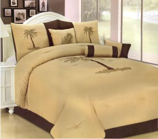 Pcs Embroidery Palm Tree Comforter Set Bed in A Bag King Gold Taupe