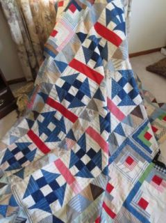 Stunning and RARE Antique Quilt Top Sampler Indigo Blue Log Cabin