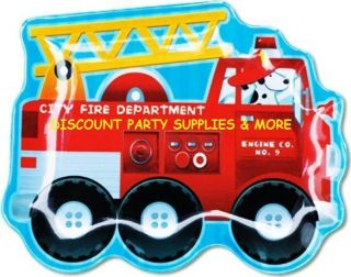 Engine Fun Firefighter Fire Truck Plastic Melamine Snack Trio Plate