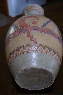 Vinage Ehnic Clay Poery Folk Ar Vase Ceramic Hand Made Pained