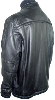 1009 Mens Black Lambskin Leather Jacket, Mandarin Collar, Detachable