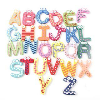 divertido 26 letras de madera nevera imanes juguetes educativos (26