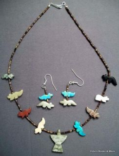 Navajo Indian 17 Animal Fetish Necklace Earrings Set
