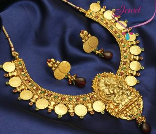 Plated Antique Necklace Temple Jewellery South Indian Earrings