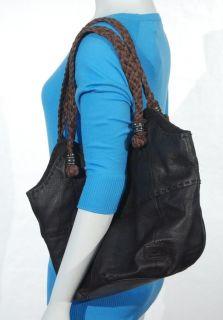 The Sak Indio Tote Chocolate Brown Pebbled Leather Hobo Bag Braided