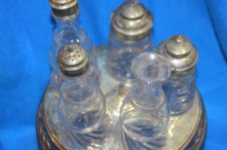 Antique Condiment Castor Cruet Set Rogers Silver Plate