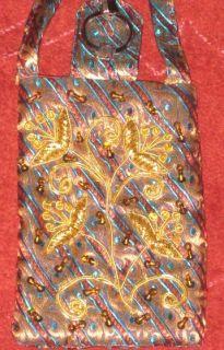 INDIAN CELL PHONE COVER RUDRAKSH BEAD POUCH WAIST SARI HANDICRAFT