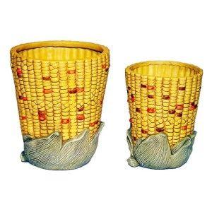 Ceramic Indian Corn Design Planter Pot Home Garden Decor Set of 2 New