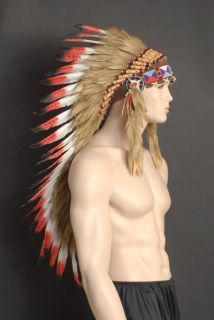 RED NATIVE INDIAN CHIEF FEATHER HEADDRESS 80CM LONG RED TIP FEATHERS