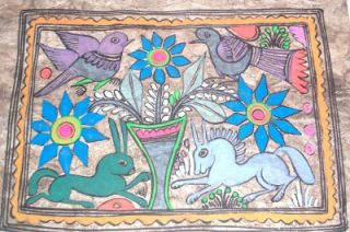 RARE Amate Bark Mexican Native Indian Folk Art Painting