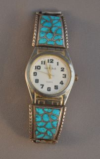 Vintage Zuni Silver Watch Band Turquoise Channel Inlay