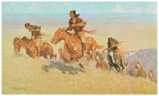 Decor Poster Indians Riding Horse on Mountain Landscape Home Wall Art