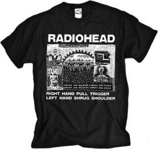 Radiohead Shrug Music Rock Indie Brit Pop Black T Shirt