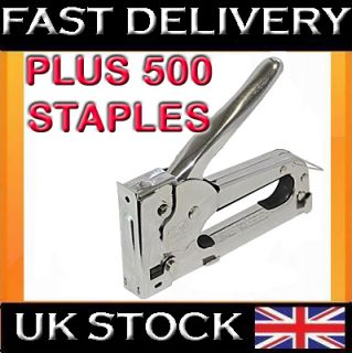 Heavy Duty Stainless Steel Metal Staple Gun 500 Staples