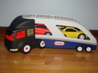 Little Tikes Semi Truck Hauler Carrier Indy NASCAR Race Cars