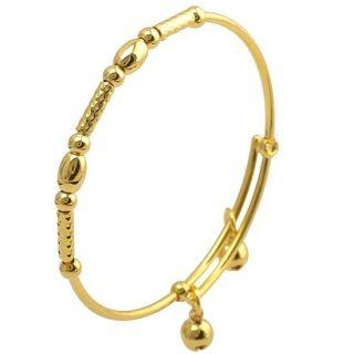 Lovely 9K Solid Gold Filled 2 Bell Baby Children Bracelet Z314