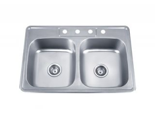 Sinks PL 910 33 Stainless Steel Top Mount Double Bowl Kitchen Sink