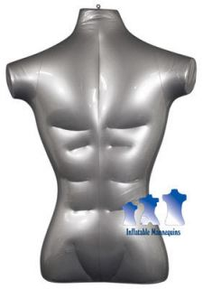 Inflatable Mannequin Male Torso Standard Size Silver