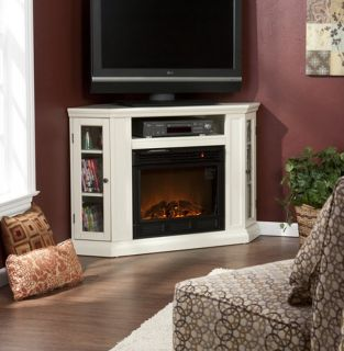 White Electric Infrared Fireplace Heater Media Entertainment Corner