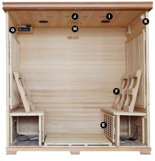 Bear Premium 6 Person Far Infrared Cedar Sauna w Carbon Heaters