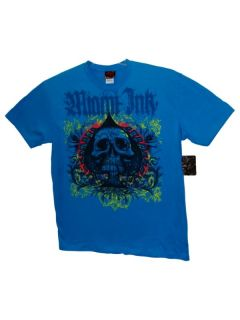 Men M Miami Ink Tattoo Blue T Shirt Huge Skull