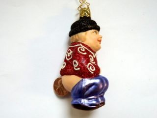 Inge Glas Money Shi German Blown Glass Christmas Tree Ornament Red