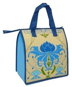 Insulated Lunch Bag Blue Lotus Flower Lunch Tote Eco Hot Cold Bag New