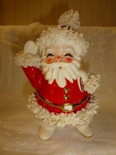 Vintage NAPCO Napcoware SANTA CLAUS Christmas Planter SPAGHETTI TRIM