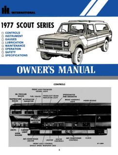 International Scout Series 1977 Owners Manual