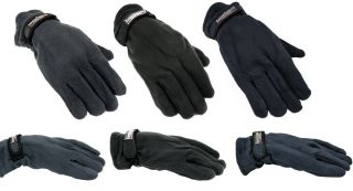 Mens Fleece Winter Gloves Thermal Insulated Adjustable Wrist Strap in