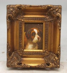 Hand Painted Miniature Oil Painting of A Dog in A Solid Wood Gilt