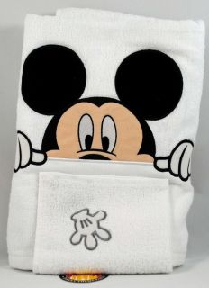 Disney Parks Mickey Mouse Bath Towel Wash Cloth Set