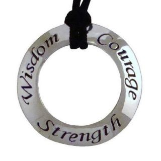 Strength, Courage Affirmation Pendant Necklace Inspirational Jewelry
