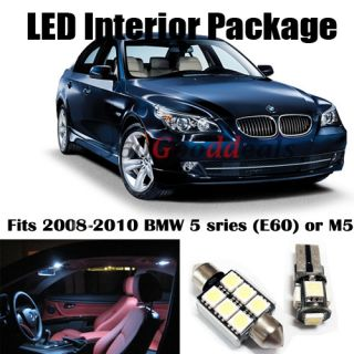 12x Error Free White LED Lights Bulb Interior Package Deal for BMW 5