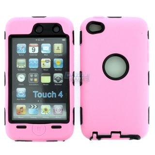 PINK 3PIECE HARD CASE COVER SKIN FOR IPOD TOUCH 4 4G 4TH GEN+PROTECTOR