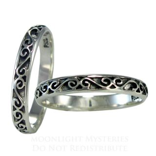 Sterling Silver Celtic Motif Band Ring Sz 4 15 SS Irish Jewelry