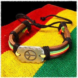 Wrist Cuff Peace Sign Emblem Wrist Bracelet Hippie Bob Reggae IRIE