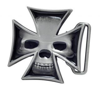 Maltese Iron Cross Skull Belt Buckle Unique Metal New Hip Cool