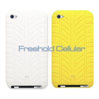 Yellow Tire Tread Silicone Skins Covers Cases for iPod Touch 4