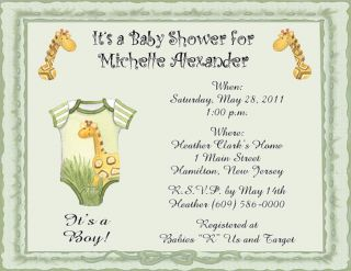 with Giraffe Personalized Baby Shower Invitations w Envelopes