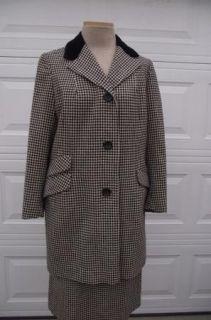 Vtg 50s Wool Moordale Black Cream Check Suit W28