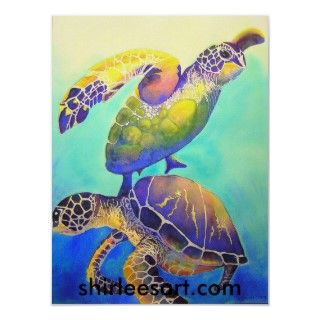 Colorful watercolor painting of two green sea turtles by shirlee