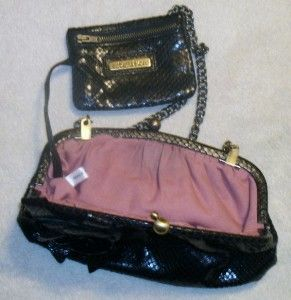 Isabella Fiore Black Leather Flower Clutch Handbag Tote