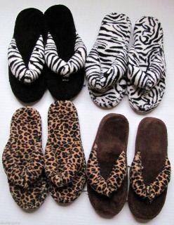Ladies Animal Print Leopard Zebra Plush Thong Flip Flop Slippers