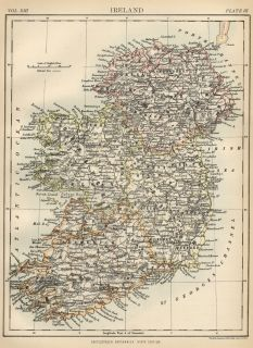 Ireland Authentic 1889 Map showing Counties; Cities; Topography