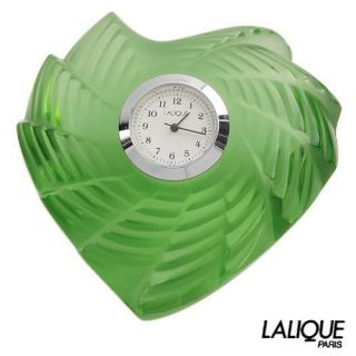 440 Lalique Green Heart Timepiece Table Desk Clock