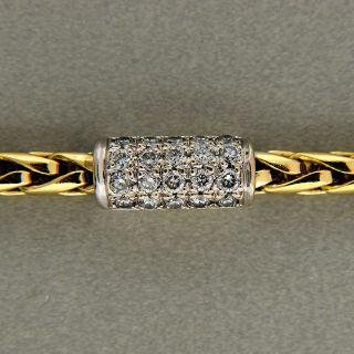 ITALIAN 18K SOLID GOLD WHEAT BRACELET 1.15CT G, VS DIAMOND WHITE GOLD