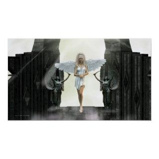 The Gate Keeper Angel Fantasy Print A pretty Angel in white stands
