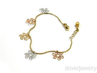 Designer Faro 14k Gold Snow Charm Italian Bracelet